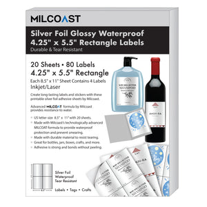 "Milcoast Silver Foil Glossy Waterproof Tear Resistant Adhesive 4.25"" x 5.5"" Rectangular Labels - 80 Labels (20 Sheets)"