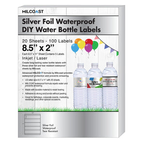 "Milcoast Silver Foil Glossy Waterproof Tear Resistant DIY 8.5"" x 2"" Water Bottle Labels - 100 Labels (20 Sheets)"