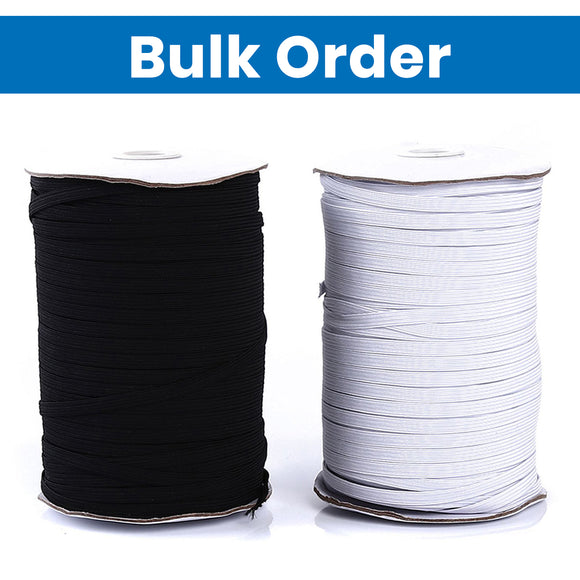 BULK ORDER Flat Band Elastic Cord - 1/4 inch (6mm) Wide - 449 ft Per Spool