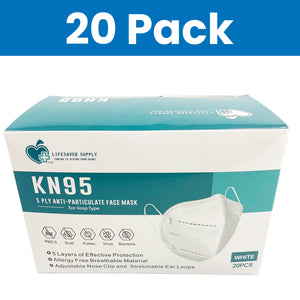 [20 Pack] KN95 5 Ply Layer Anti-Particulate Disposable Face Masks