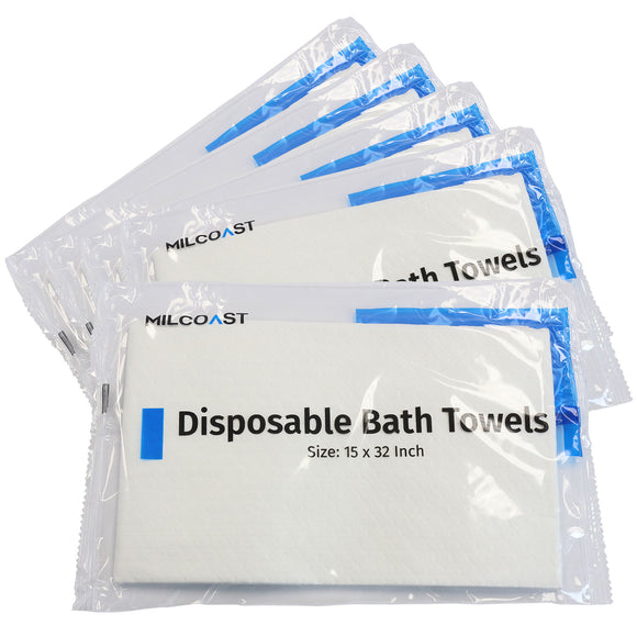 Milcoast Individually Wrapped Disposable Bath Towels (15 x 32