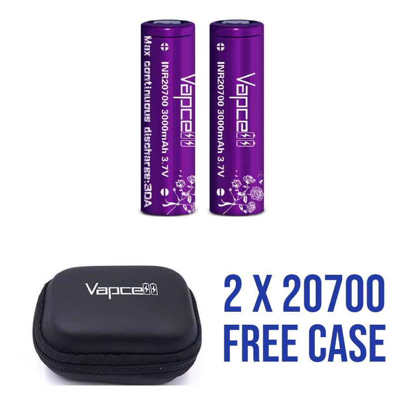 VAPECELL 3000mAh 20700 2PK AND CASE