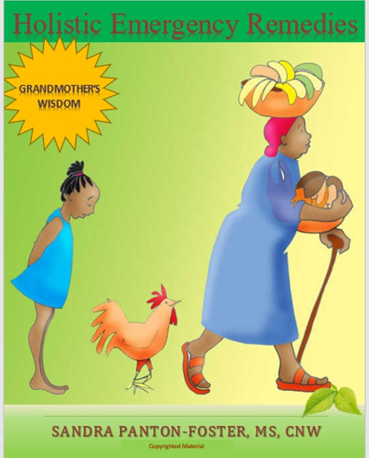 A grandmother walking with a basket full of produce on her head, while carring additional food items craddled  in her right arm and walking stick in her left hand.  She is followed by a chicken and her granddaughter