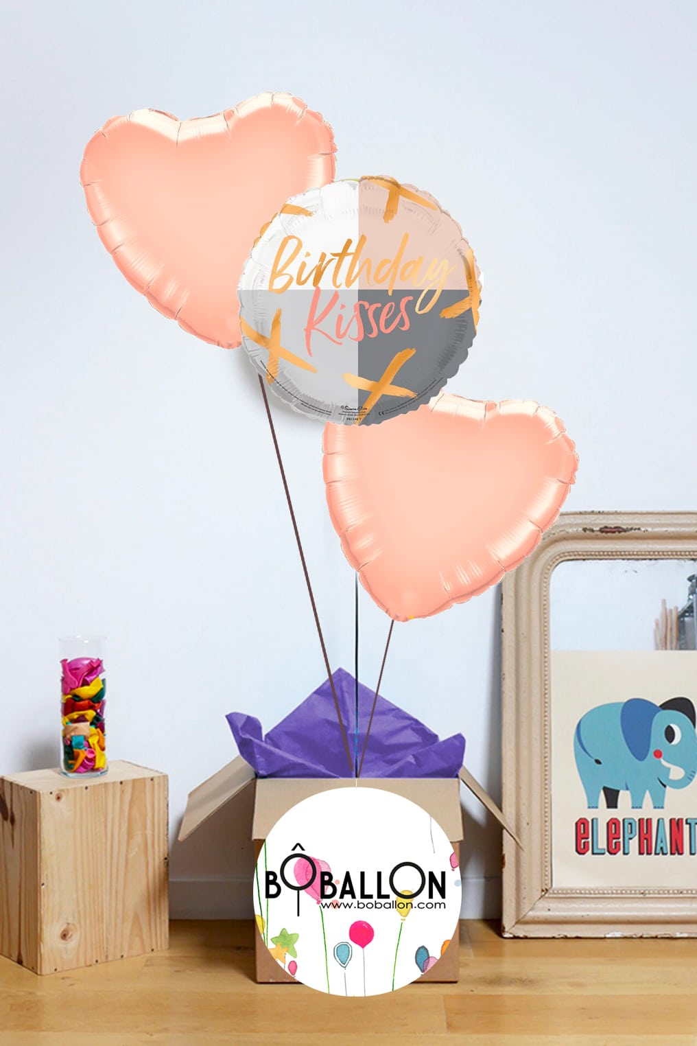 Bouquet ballons rose gold anniversaire