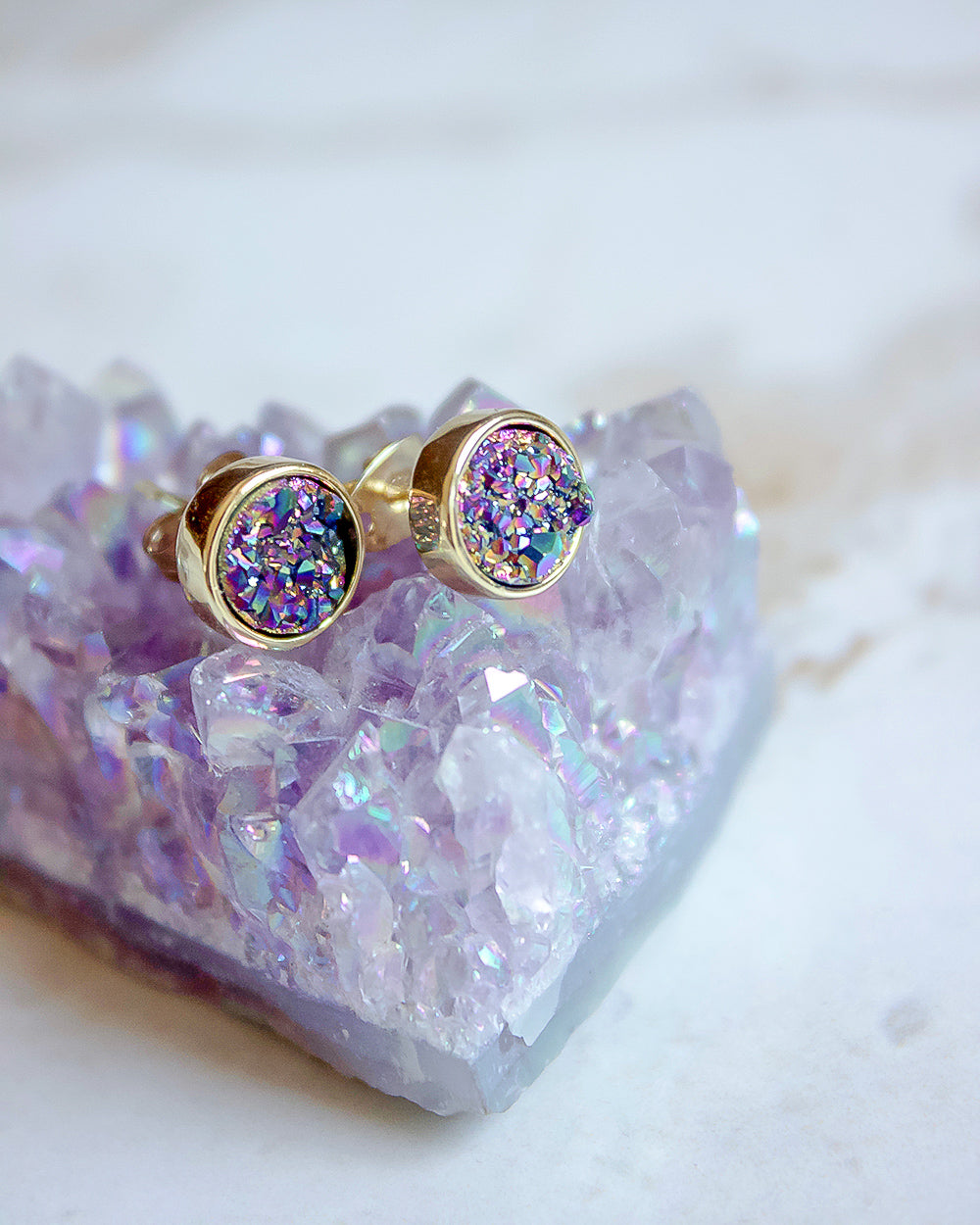 24KT Gold Plated 8mm Druzy Stud Earrings in Rainbow Galaxy