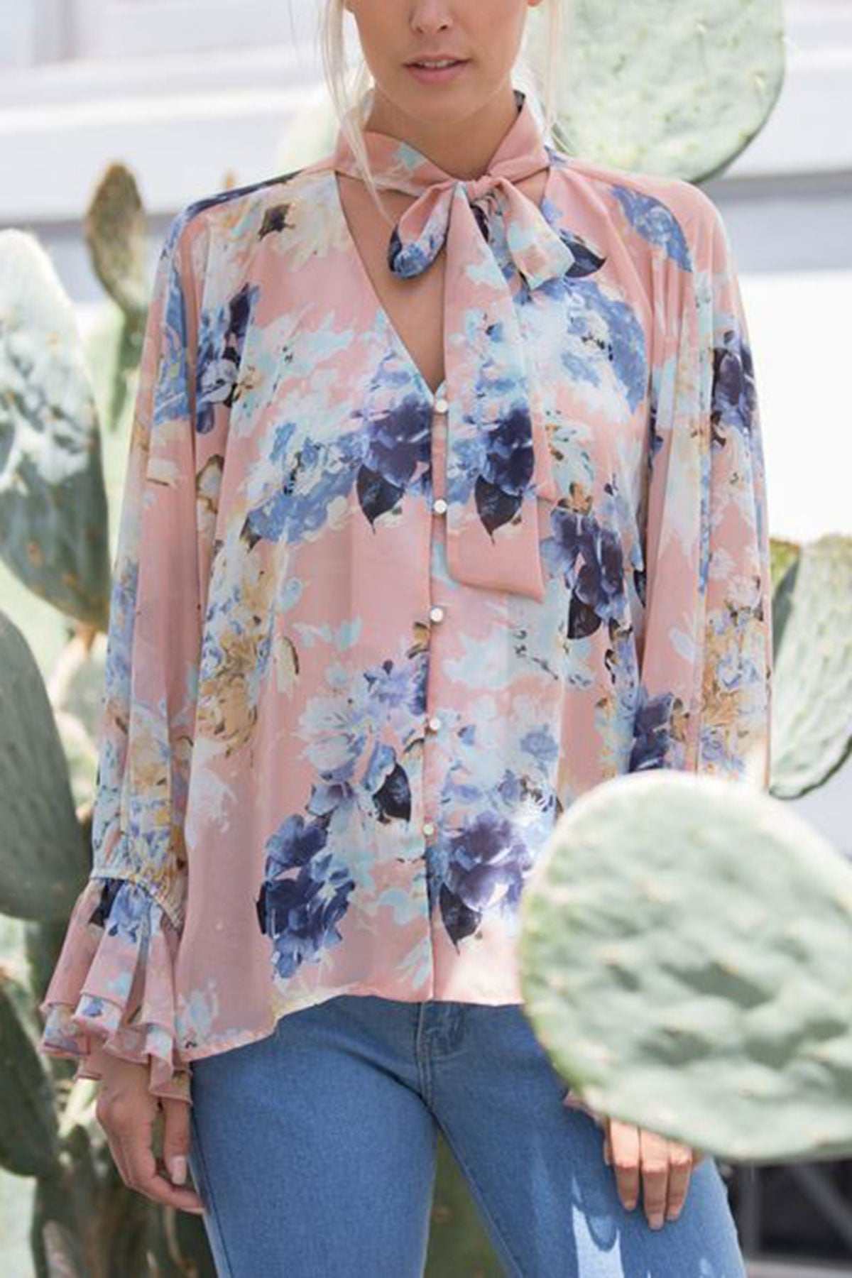 Christina Floral Button Up Bell Sleeve Blouse