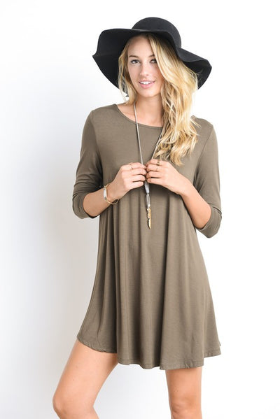 Promise Me Swing Dress (Dark Olive) - Mint Wish