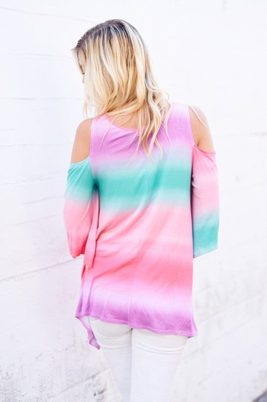 Cotton Candy Skies Cold Shoulder Top