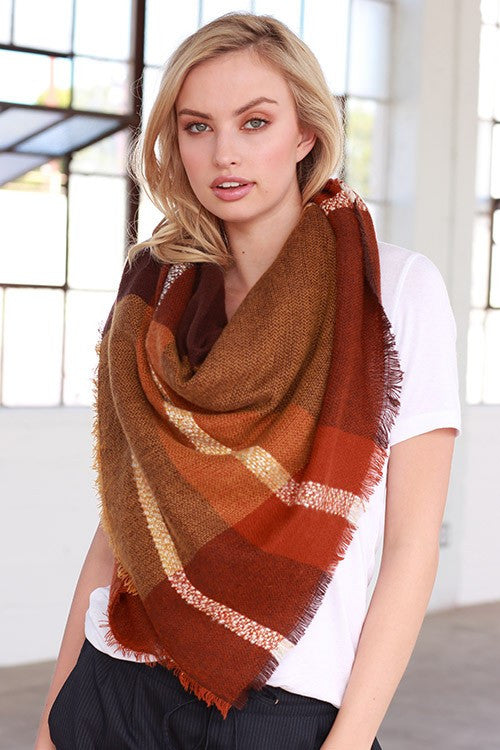 Autumn Feelings Blanket Scarf (Rust & Orange Color Block) - Babe Outfitters