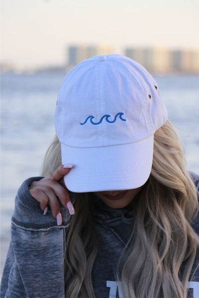 Ocean Wave Outline Embroidered Vintage Hat - Babe Outfitters