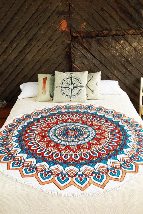 Roundie Beach Towel (Sunset Mandala) - Babe Outfitters