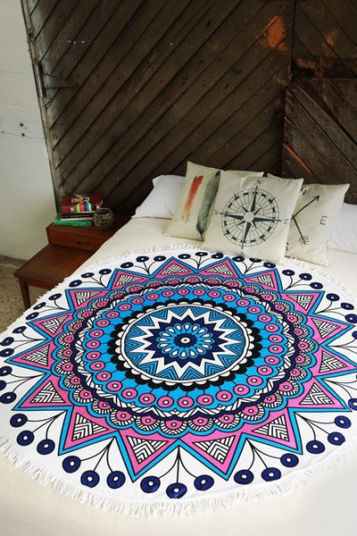 Royal Mandala Roundie Beach Towel - Mint Wish