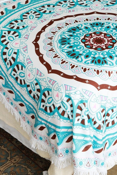 Turquoise Mandala Roundie Beach Towel - Mint Wish