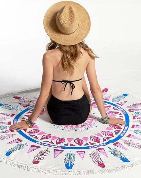 Falling Feathers Roundie Beach Towel