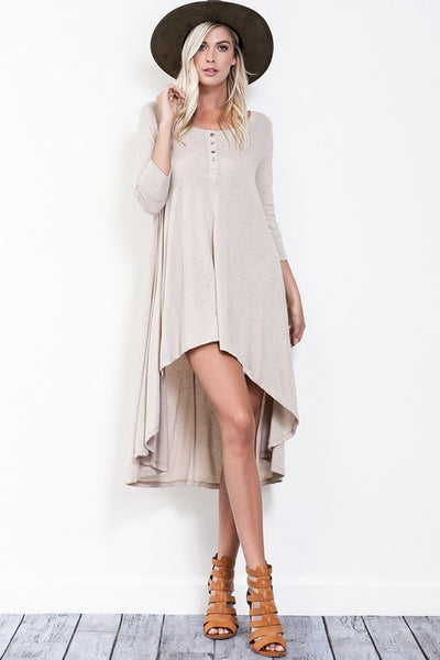 Cherish Me Dress (Taupe) - Mint Wish