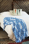 Indian Hand Block Printed Towel (Ocean Damask) - Mint Wish