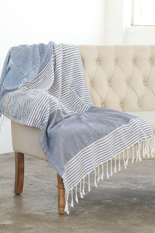 Indian Hand Block Printed Towel (Chevron & Stripe) - Babe Outfitters