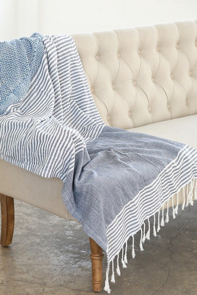 Indian Hand Block Printed Towel (Chevron & Stripe) - Mint Wish