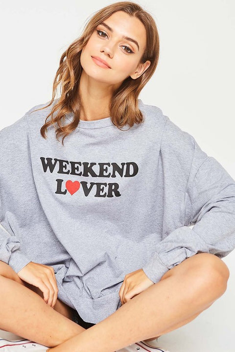 Weekend Lover Graphic Sweatshirt - Babe Outfitters