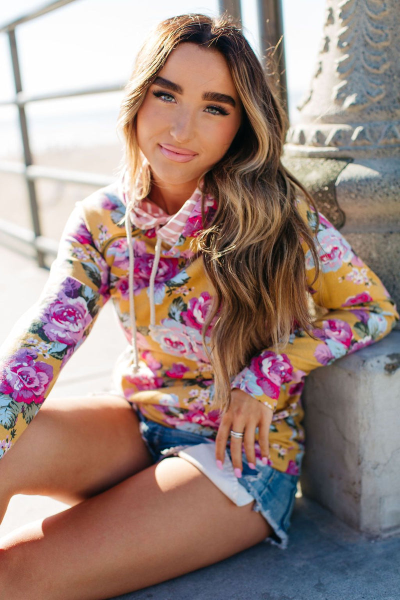 Ampersand Avenue DoubleHood Sweatshirt - Blooming Florals