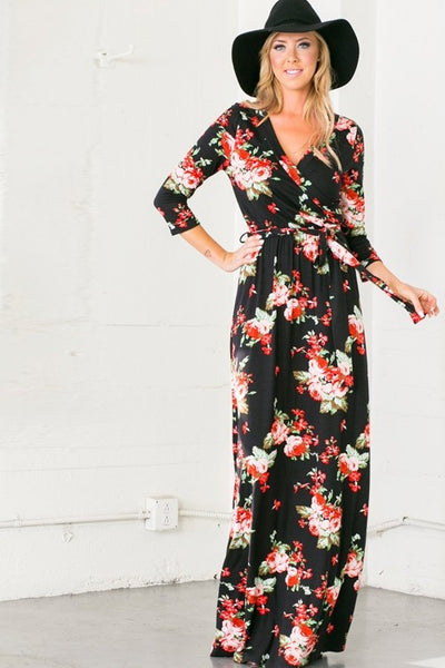 Among The Roses Wrap Maxi Dress - Mint Wish
