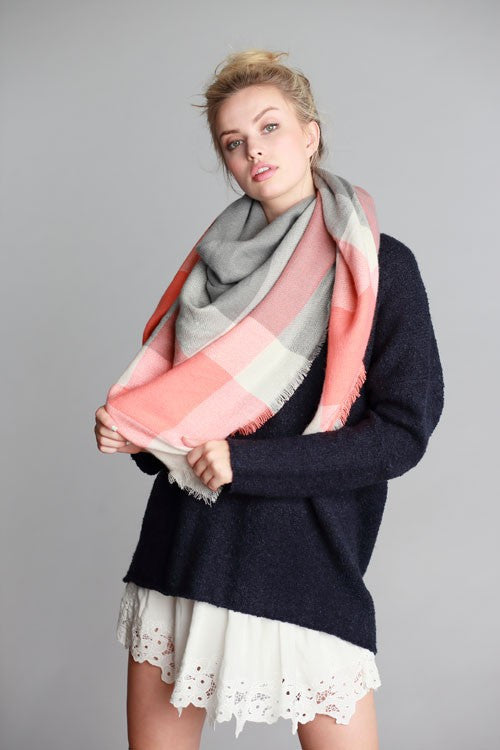 Roasting Marshmallows Blanket Scarf (Coral & Gray Color Block) - Babe Outfitters