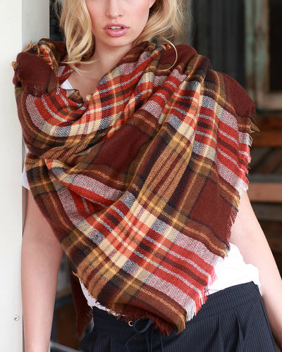 Blanket Scarf in Brick Plaid - Mint Wish