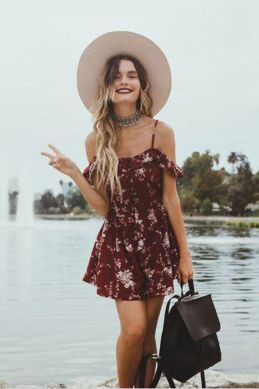 Scarlet Blooms Floral Playsuit