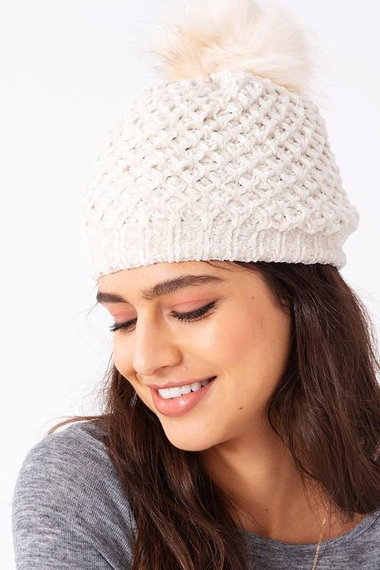 Chenille Knit Pom Pom Beanie Hat - Babe Outfitters