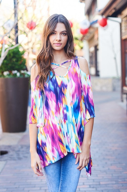 Painted Skies Cold Shoulder Criss Cross Tunic - Mint Wish