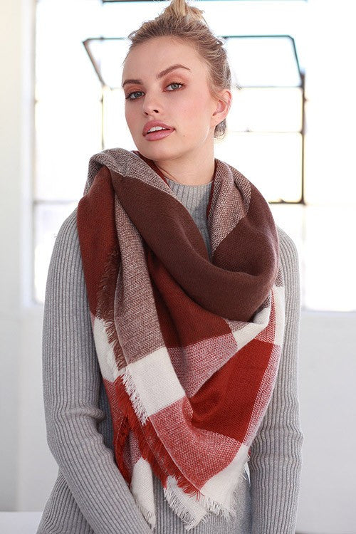 Autumn Warmth Blanket Scarf (Rust Color Block) - Babe Outfitters