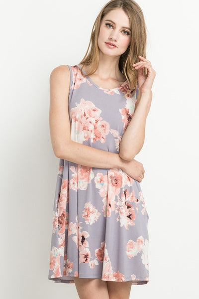 One Fine Day Sleeveless Criss Cross Back Dress (Dusty Lavender) - Mint Wish