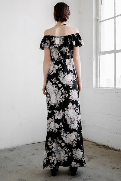 Midnight Magic Floral Off The Shoulder Maxi Dress - Mint Wish