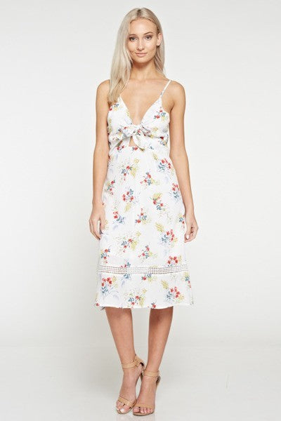 Love Story Floral Cutout Midi Dress - Mint Wish