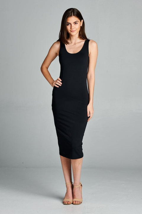 Double Scoop Neck Midi Dress