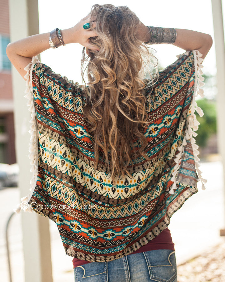 Grace & Lace Tassel Trim Tunic in Fall Aztec