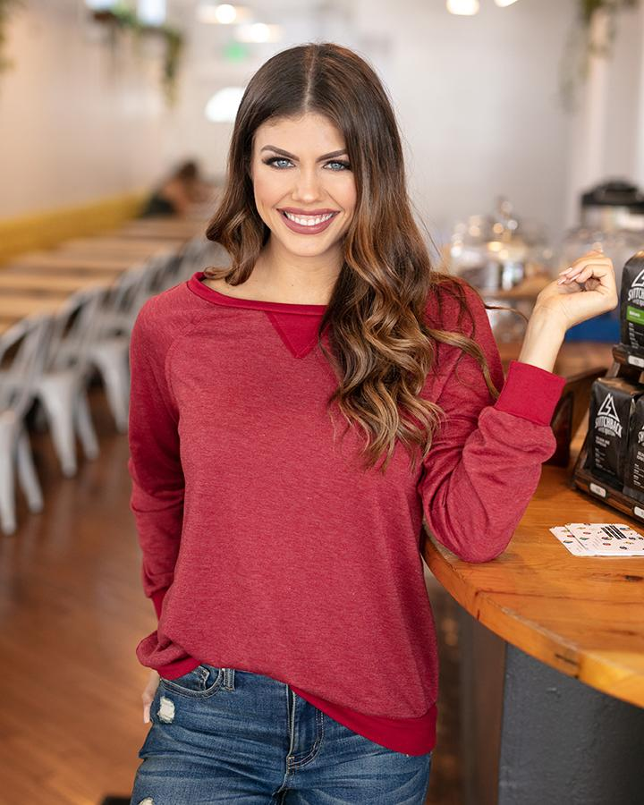Grace & Lace Slouch Pullover (Heathered Ruby)