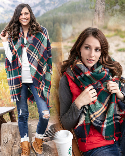 Grace & Lace Blanket Scarf/Toggle Poncho (Evergreen/Hot Orange) - Babe Outfitters