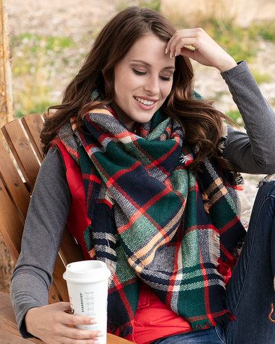 Grace & Lace Blanket Scarf/Toggle Poncho (Evergreen/Hot Orange) - Mint Wish