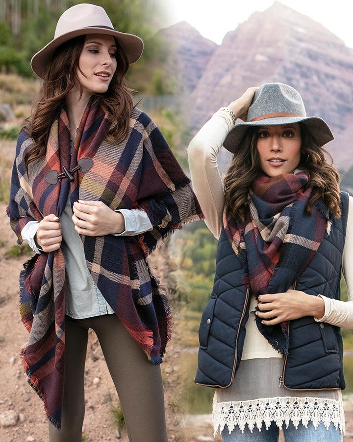Grace & Lace Blanket Scarf/Toggle Poncho (Spice/Navy) - Babe Outfitters