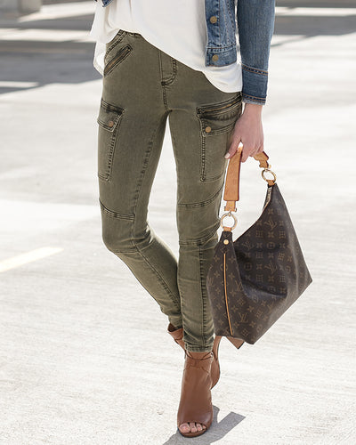 Grace & Lace Cargo Jeggings (Olive) - Babe Outfitters
