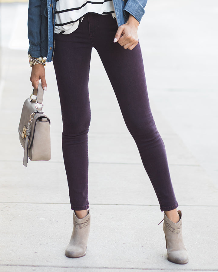 Grace & Lace Colored Mid Rise Jeggings (Merlot)