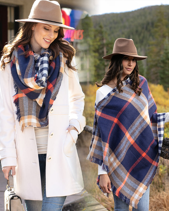 Grace & Lace Reversible Button Scarf/Poncho (Navy Plaid) - Babe Outfitters