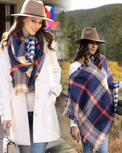 Grace & Lace Reversible Button Scarf/Poncho (Navy Plaid)