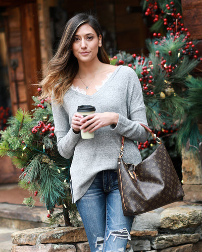 Grace & Lace Snow Day Sweater (Heather Grey)