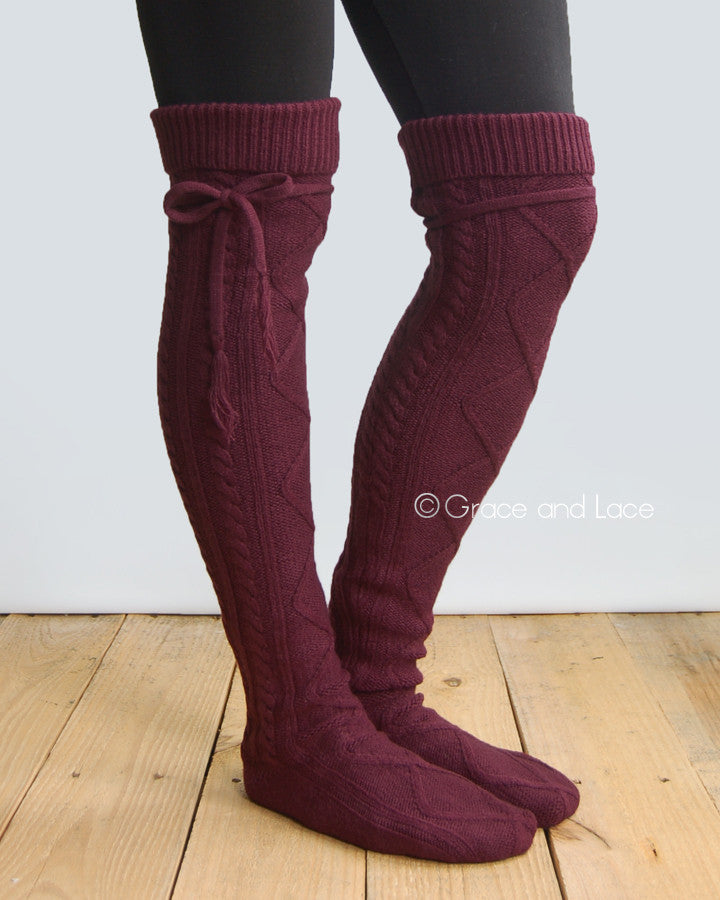 Grace & Lace Alpine Thigh High Boot Socks (Wine)