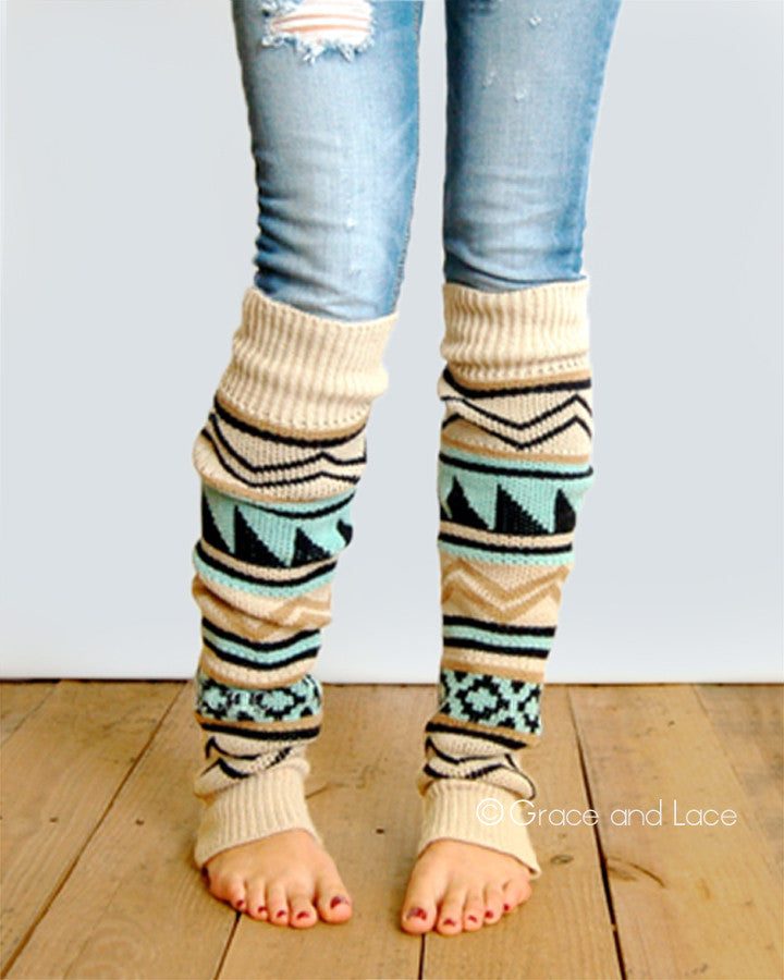 Grace & Lace Lace Aztec Leg Warmers™ - Babe Outfitters