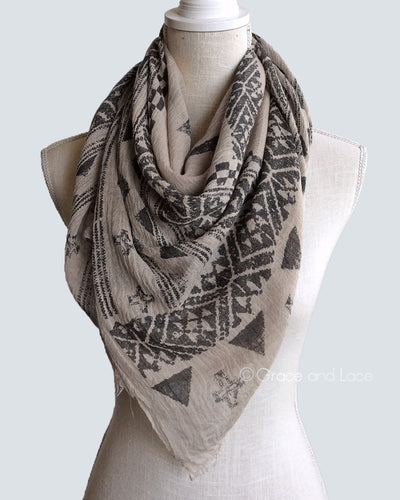 Grace & Lace Aztec Scarf/Vest™ in Khaki - Mint Wish
