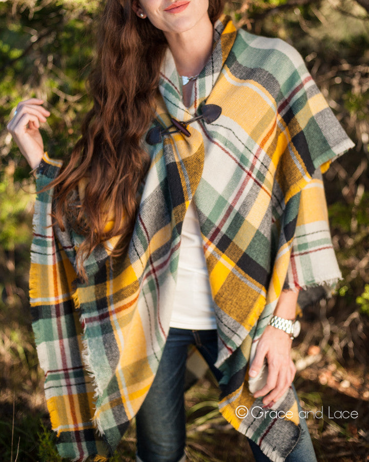 Grace & Lace Blanket Scarf/Toggle Poncho (Yellow/Navy) - Babe Outfitters