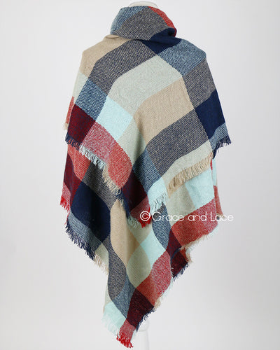 Grace & Lace Blanket Scarf/Toggle Poncho™ (Red/Mint Color Block) - Mint Wish